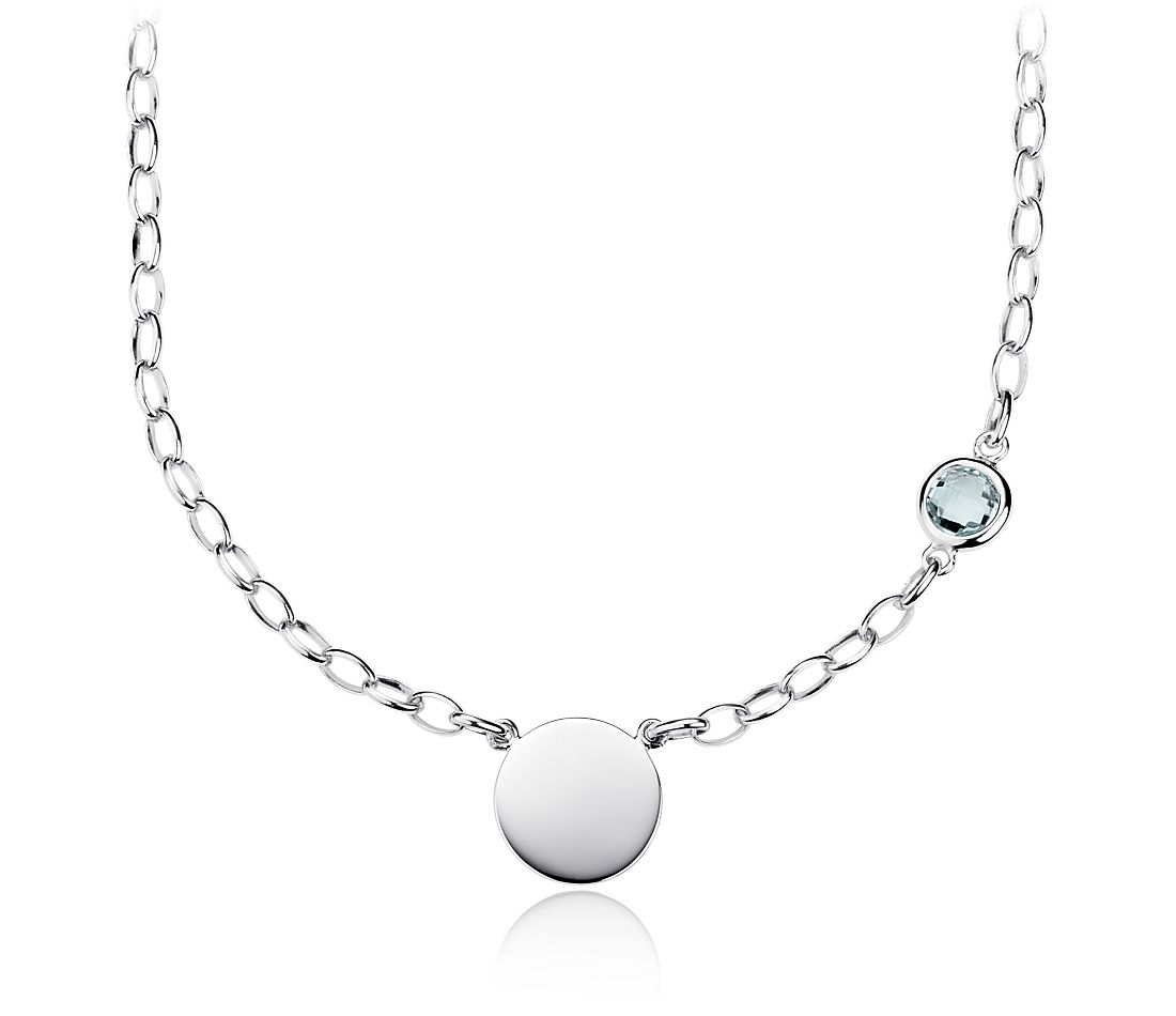 Aquamarine Birthstone Necklace in Sterling Silver