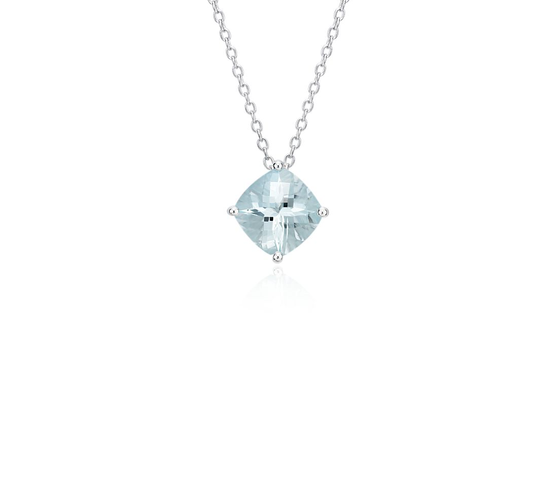 Aquamarine Cushion Pendant in Sterling Silver (8mm)