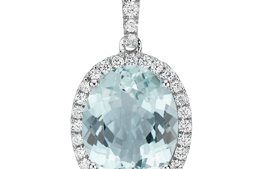 Pendentif diamant et aigue-marine en or blanc 14carats (10x8mm)