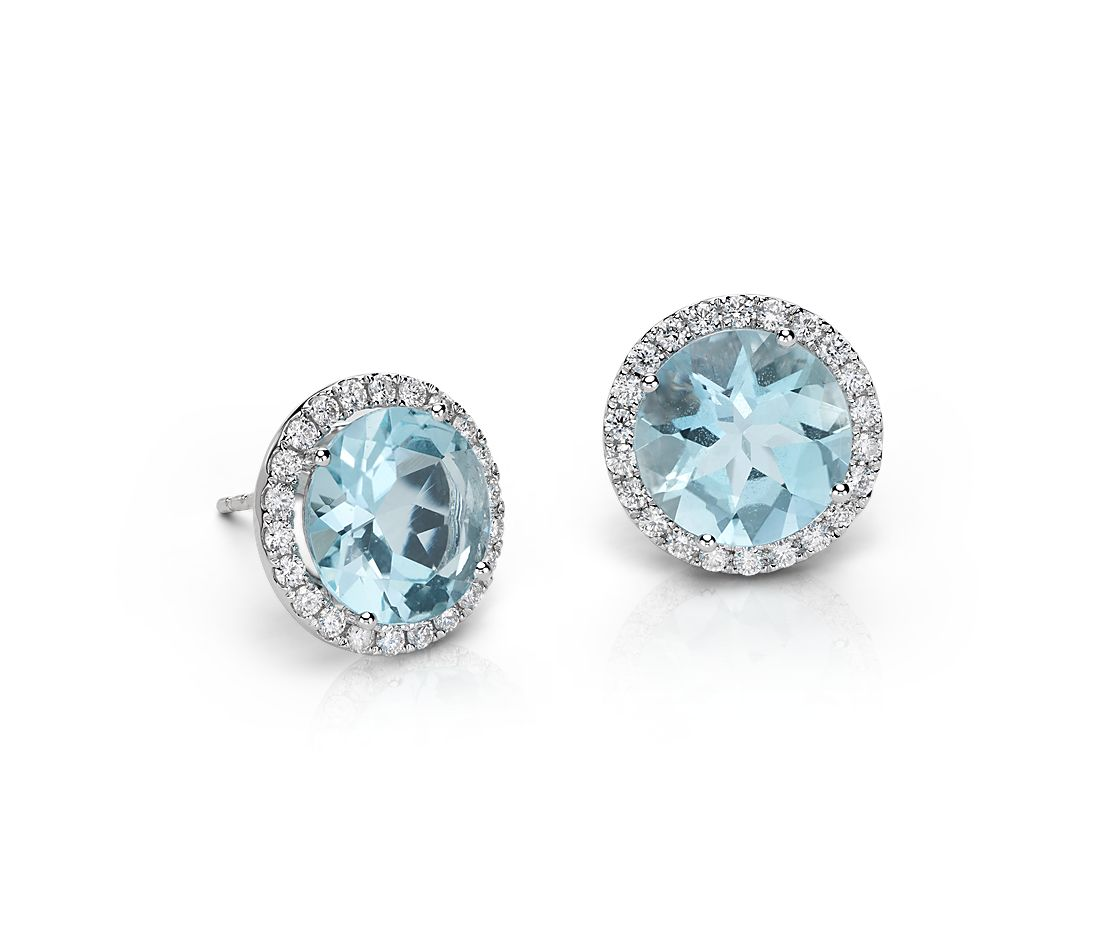 Aquamarine And Diamond Halo Earrings In 18k White Gold 5 32 Cts