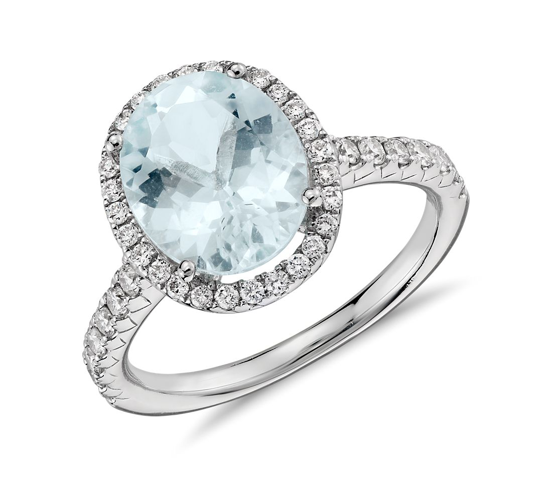 Aquamarine and Diamond Halo Ring in 18k White Gold