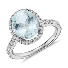 Aquamarine and Diamond Halo Ring in 18k White Gold (10x8mm)