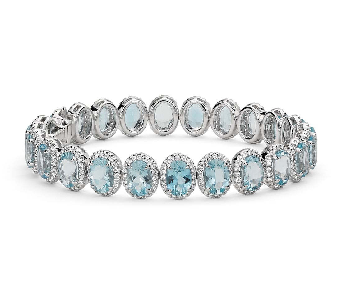 Aquamarine And Diamond Halo Bracelet In 18k White Gold 7x5mm