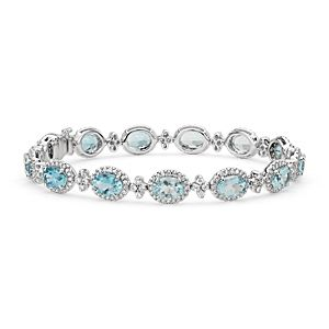 Oval Aquamarine and Pavé Diamond Halo Bracelet in 18k White Gold (7x5mm)