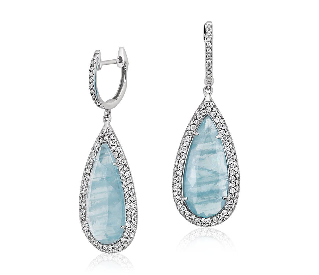 Aquamarine and Micropavé Diamond Drop Earrings in 18k White Gold
