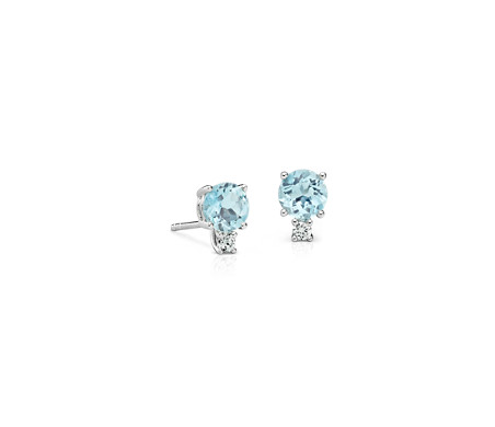 Aquamarine and Diamond Stud Earrings in 18k White Gold (5mm)