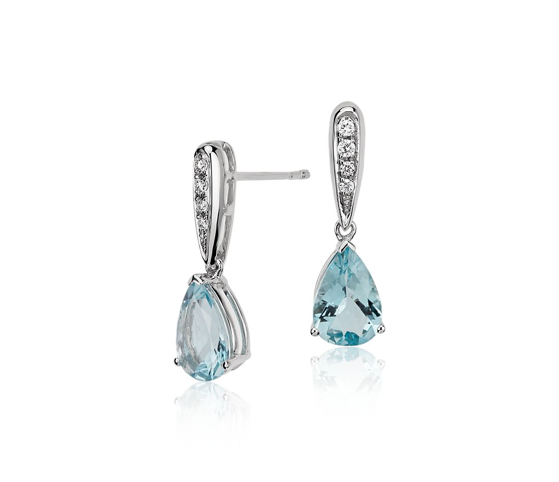 Aquamarine And Diamond Pear Drop Earrings In 14k White Gold 9x6mm
