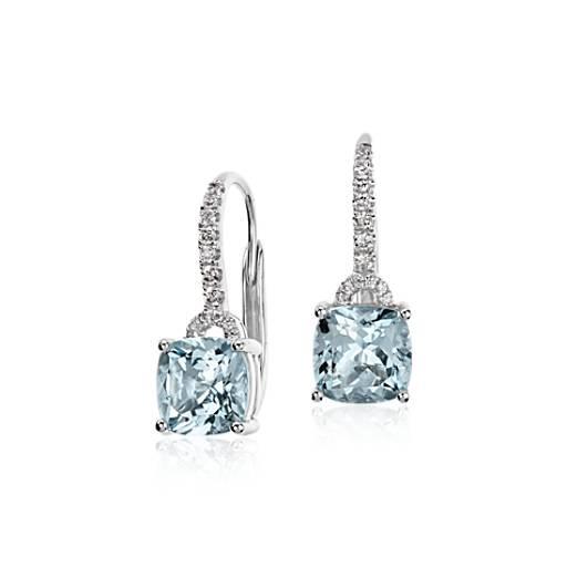 Aquamarine Cushion And Diamond Drop Earrings In 14k White