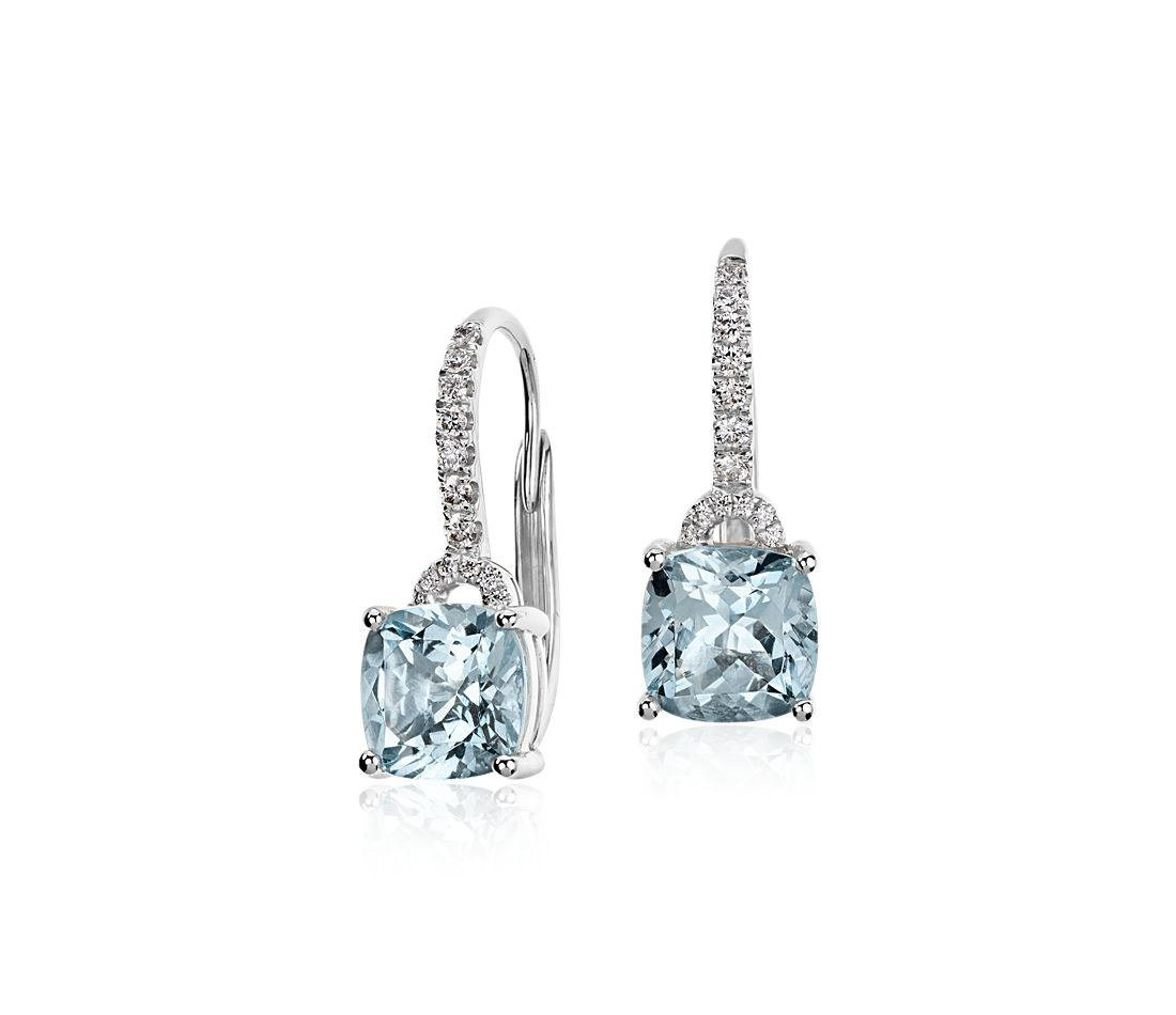 Aquamarine Cushion and Diamond Drop Earrings in 14k White Gold (7x7mm)  4a908955da1e