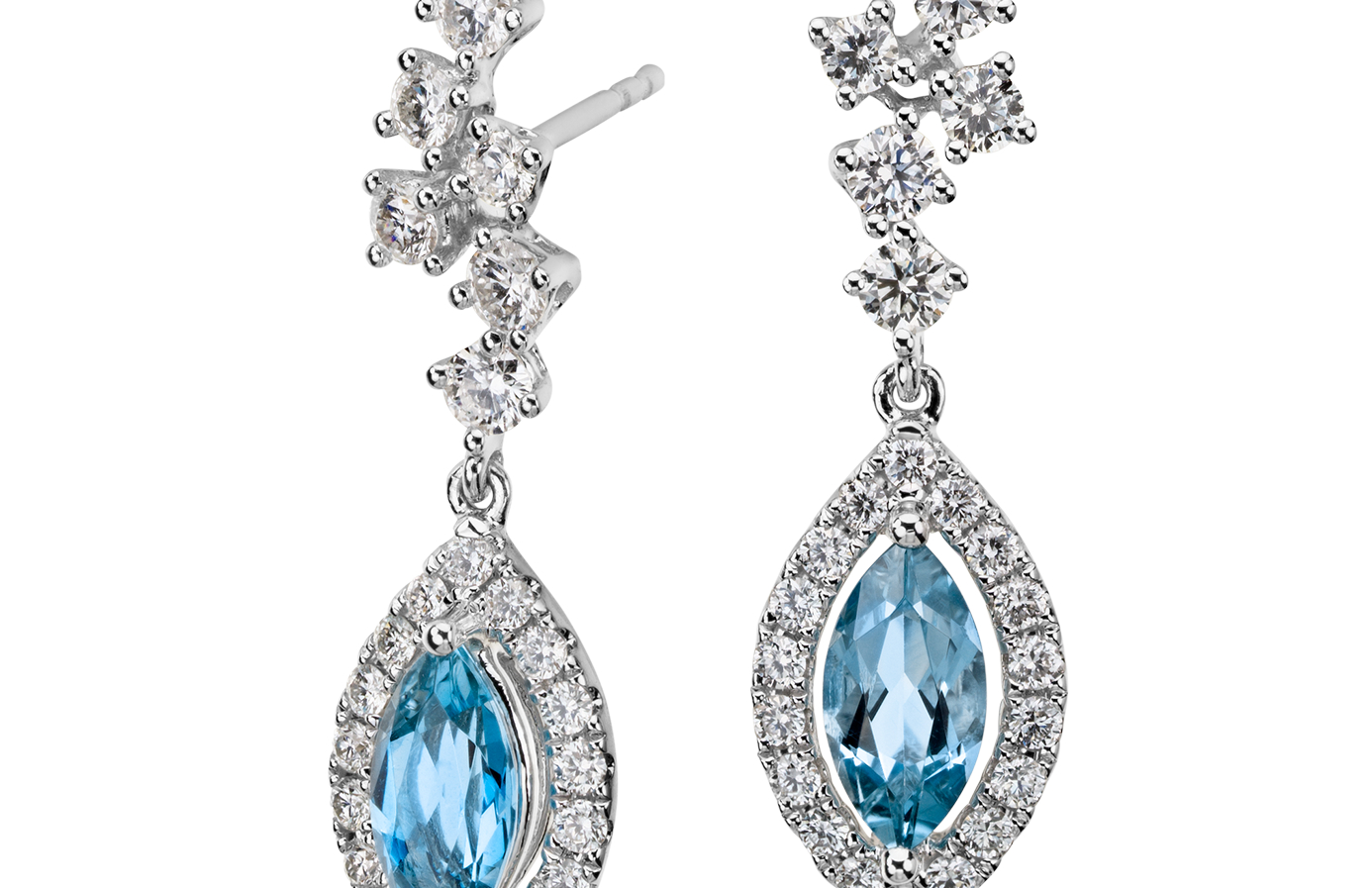 Aquamarine and Diamond Drop Earrings in 18k White Gold (8x4mm)