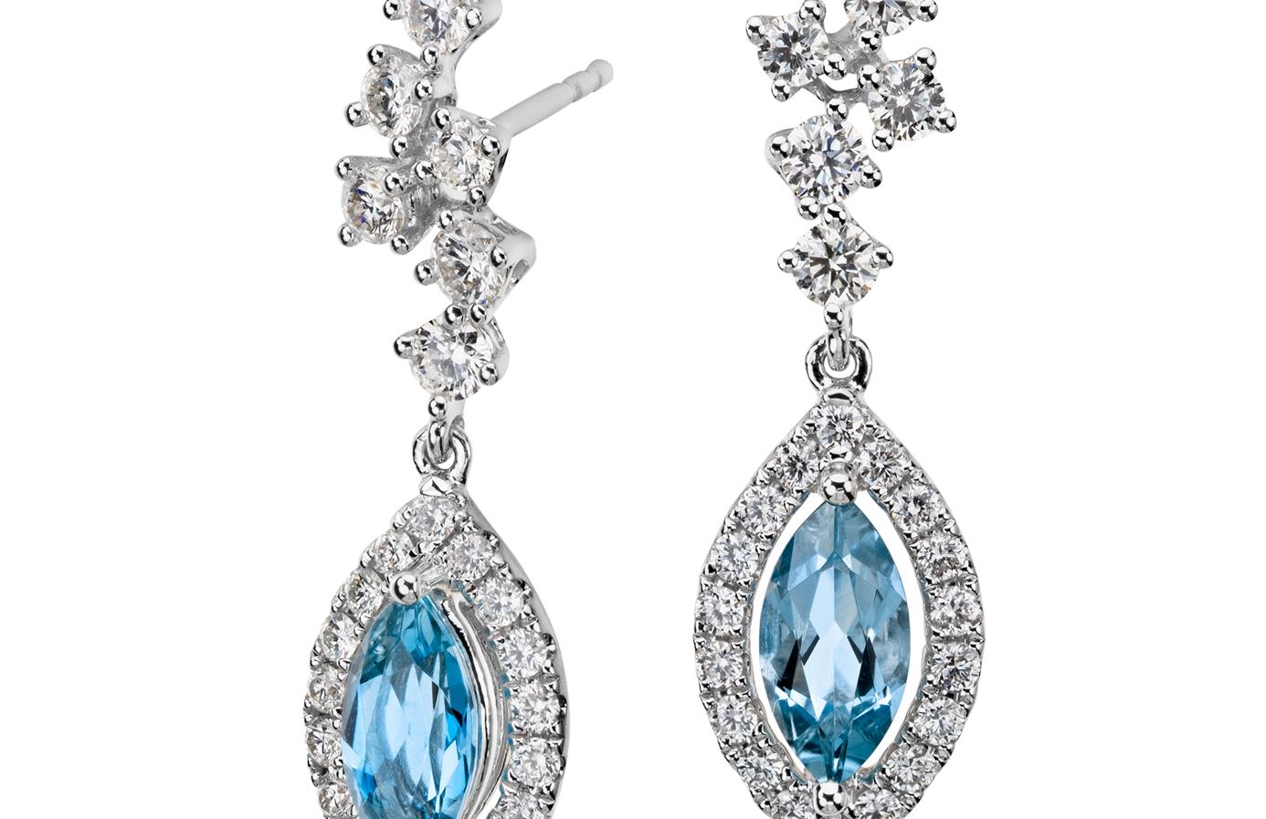 Aretes colgantes de diamantes y aguamarina en oro blanco de 18 k (8mmx4mm)