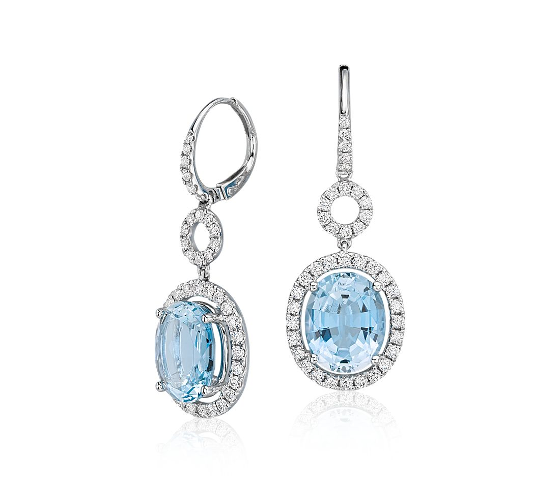 Aquamarine and Diamond Halo Drop Earrings in 18k White Gold (6.24 ct. tw. center)
