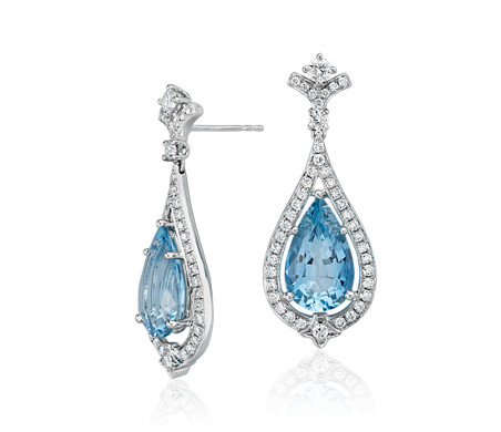 Pear-Shape Aquamarine and Diamond Halo Drop Earrings in 18k White Gold (6.68 ct. tw. centre)