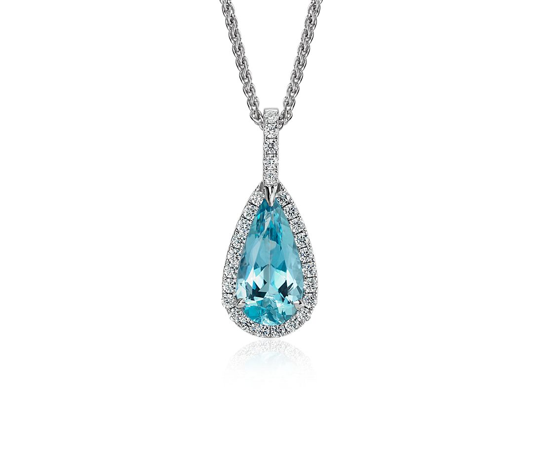 Pear Shaped Aquamarine and Diamond Pavé Halo Pendant in 18k White Gold