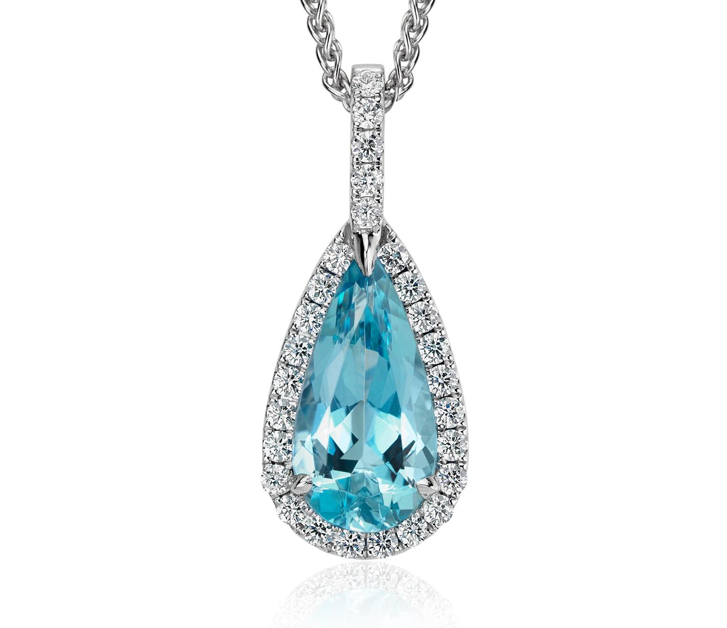 Colgante en forma de gota con halo de diamante y aguamarina con forma de pera en oro blanco de 18 k