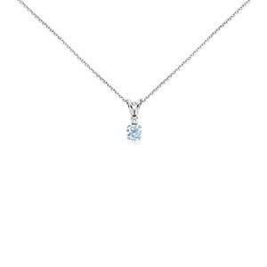 Aquamarine and Diamond Solitaire Pendant in 18k White Gold (5mm)