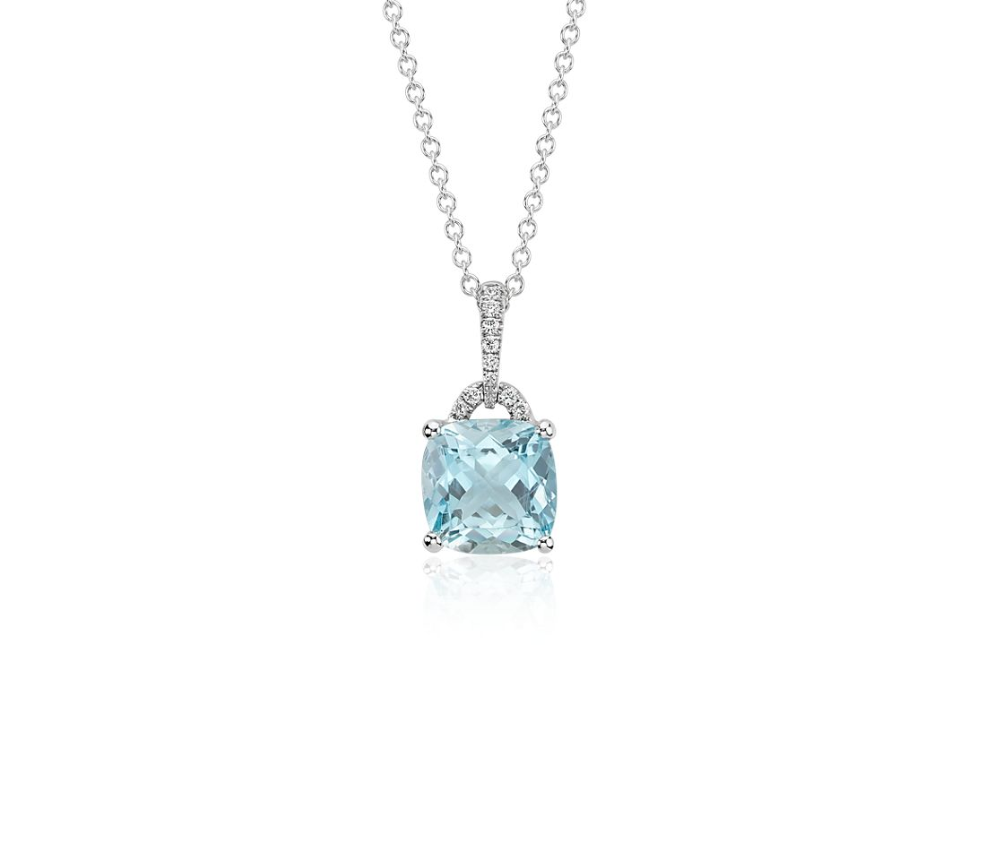 Aquamarine Cushion and Diamond Pendant in 14k White Gold (8x8mm