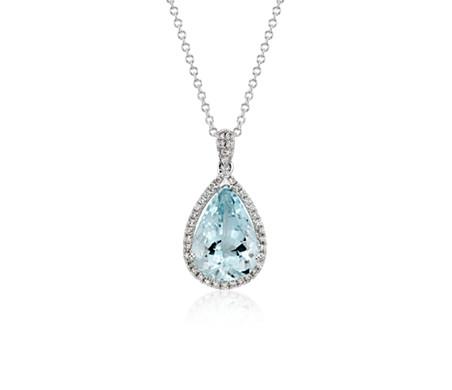 14k 白金 海藍寶石與鑽石光環吊墜<br>( 13 x 9毫米)