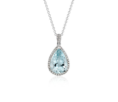 Aquamarine and Diamond Halo Pendant in 14k White Gold