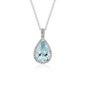 Colgante de aguamarina y halo de diamantes en oro blanco de 14 k (13mmx9mm)