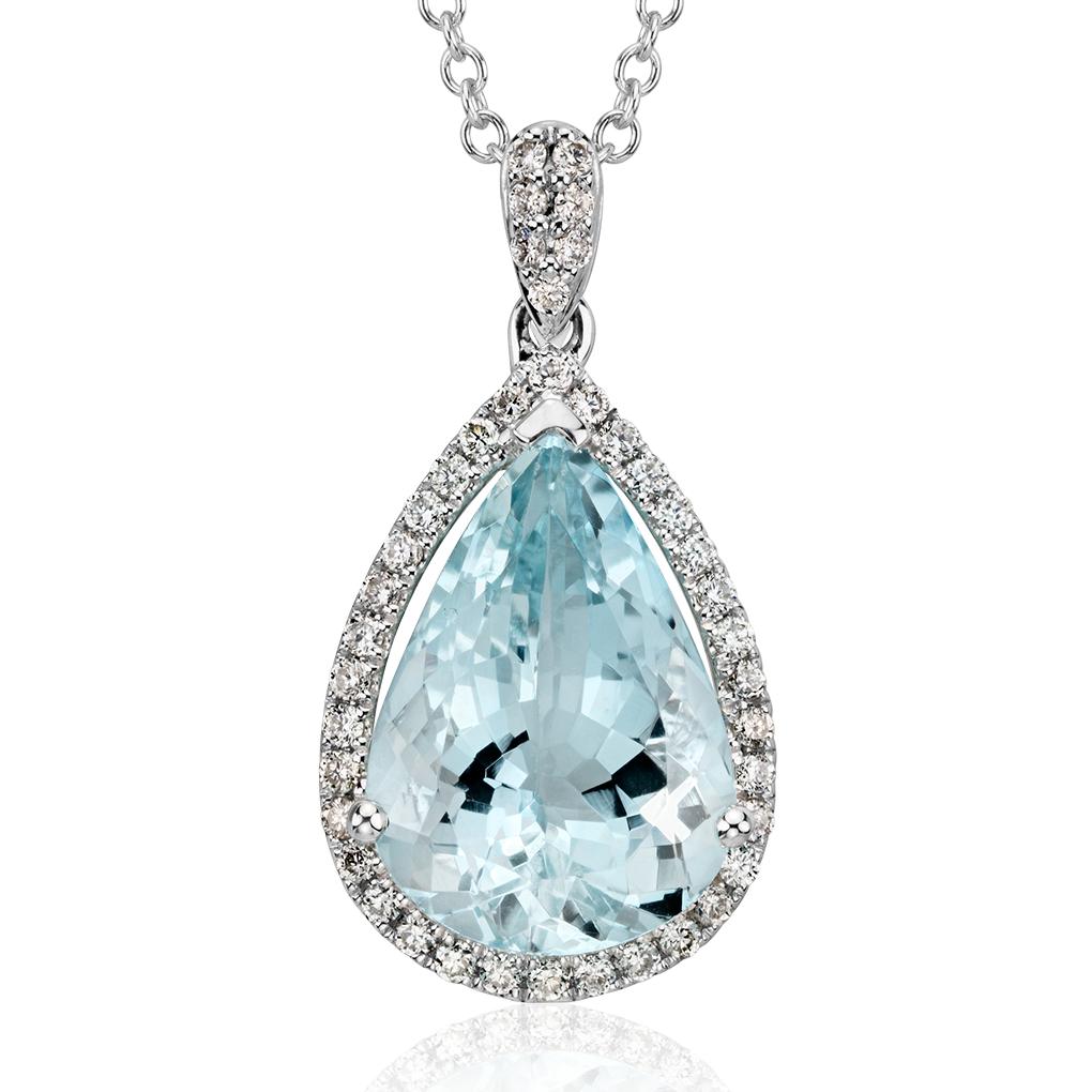 Pendentif halo diamant et aigue-marine en or blanc 14carats (13x9mm)