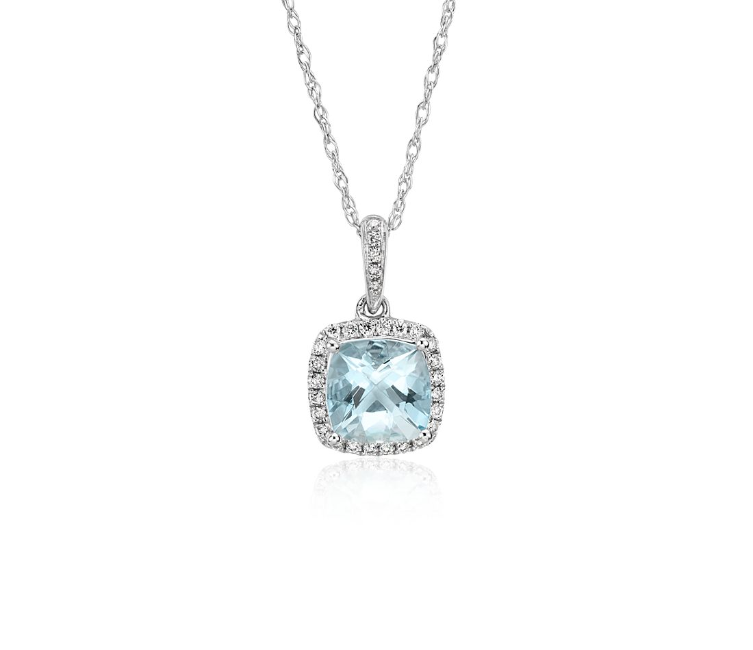 Aquamarine and Diamond Halo Cushion-Cut Pendant in 14k White Gold (7x7 mm)