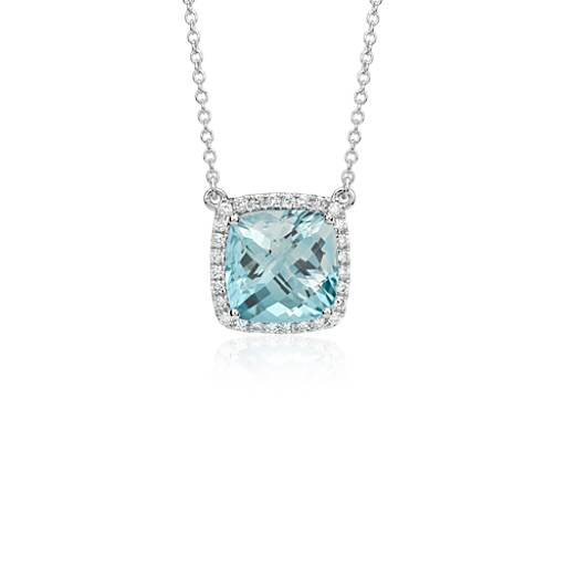 Aquamarine cushion and diamond necklace in 18k white gold 10mm aquamarine cushion and diamond necklace in 18k white gold 10mm blue nile aloadofball Image collections