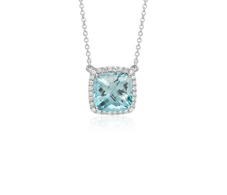 Aquamarine Cushion and Diamond Necklace in 18k White Gold (10mm)