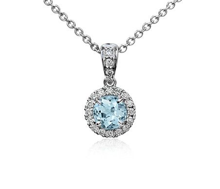 Pendentif halo de diamants sertis micro-pavé et aigue-marine en or blanc 18 carats (5 mm)