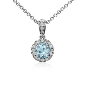 NEW Aquamarine and Micropavé Diamond Halo Pendant in 18k White Gold (5mm)