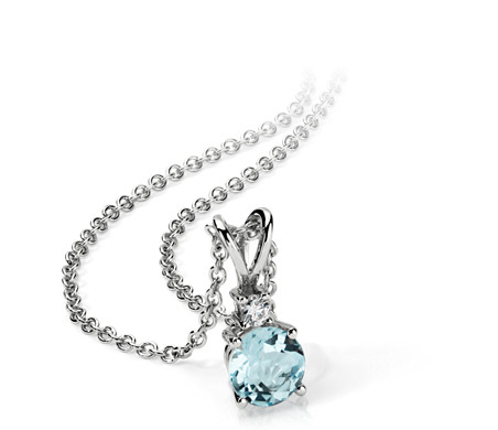 Aquamarine and diamond solitaire pendant in 18k white gold 5mm aquamarine and diamond solitaire pendant in 18k white gold 5mm aloadofball