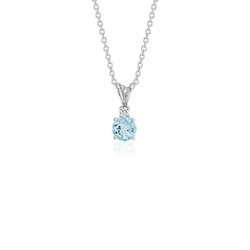 Aquamarine And Diamond Solitaire Pendant In 18k White Gold