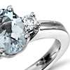 Aquamarine and Diamond Ring in 18k White Gold (8x6mm)