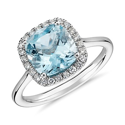 Aquamarine and Diamond Halo Ring in 14k White Gold (8x8mm)