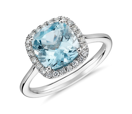 diamond cushion aqua cut aquamarine and halo engagement rings ring htm