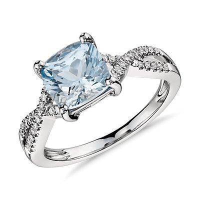 14k 白金海蓝宝石与钻石无限式扭纹戒指(7x7毫米)