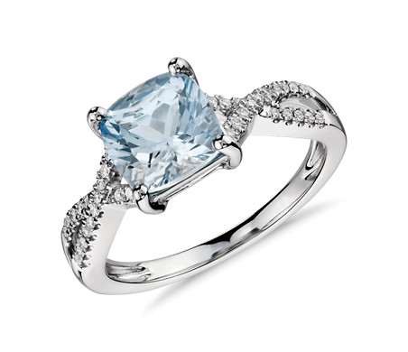 Blue Nile Aquamarine and Diamond Ring in 18k White Gold (8x6mm)