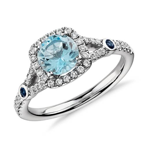 Aquamarine And Diamond Split Shank Halo Ring In 14k White Gold 6mm Blue Nile
