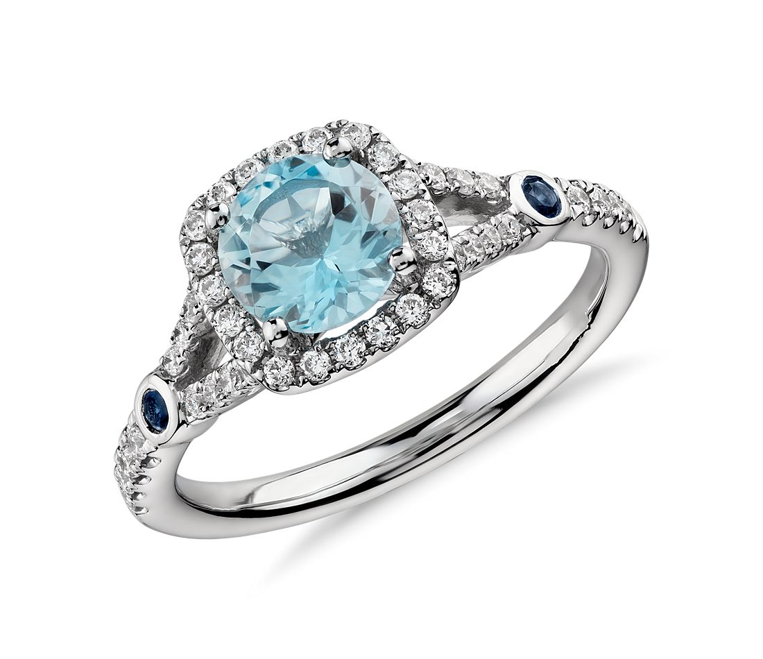 Aquamarine and Diamond Split Shank Halo Ring in 14k White Gold (6mm)