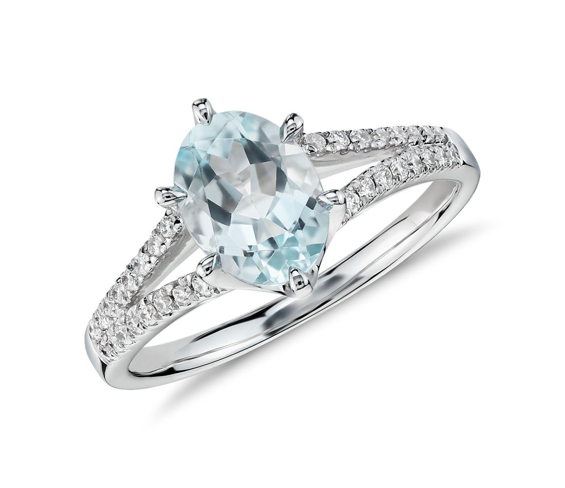 Aquamarine and Diamond Split Shank Ring in 14k White Gold (8x6mm)