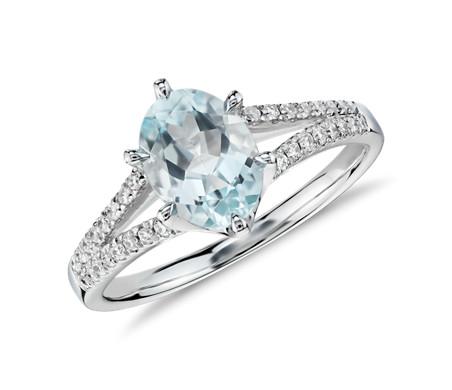 Aquamarine and Diamond Split Shank Ring in 14k White Gold (8x6mm)