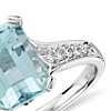 Aquamarine and Diamond Ring in 14k White Gold (9x7mm)