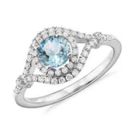 Aquamarine and Diamond Elegant Ring in 14k White Gold (5.5mm)