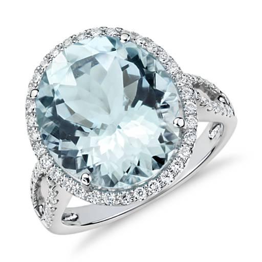 Aquamarine And Diamond Halo Ring In 18k White Gold