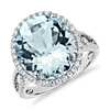 Bague halo diamant et aigue-marine en or blanc 18 carats (14 x 12 mm)
