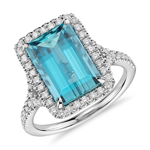 Aquamarine With Diamond Halo Ring In 18k White Gold 3 90 Ct Center Blue Nile