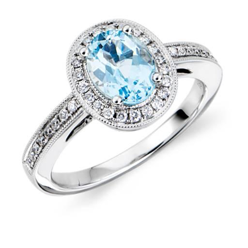 Aquamarine And Diamond Ring In 18k White Gold 8x6mm