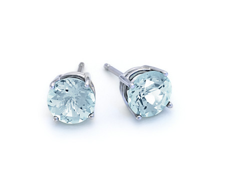 Blue Nile Aquamarine and Diamond Stud Earrings in 18k White Gold (5mm) fqDjAr