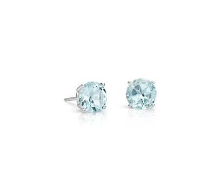 Puces d'oreilles aigue-marine en or blanc 14 carats (7 mm)