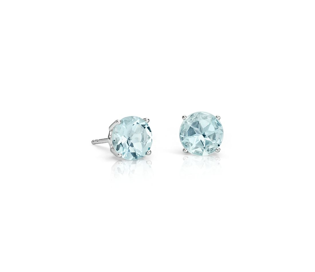 Aquamarine Stud Earrings In 18k White Gold 7mm